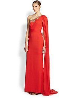 Notte by Marchesa - Draped One-Shoulder Silk Gown