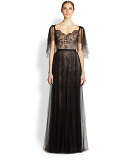 Notte by Marchesa - Draped Tulle & Lace Gown