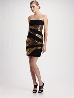 Robert Rodriguez - Sequin Ruched Strapless Dress