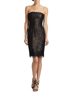 ML Monique Lhuillier - Strapless Lace Dress