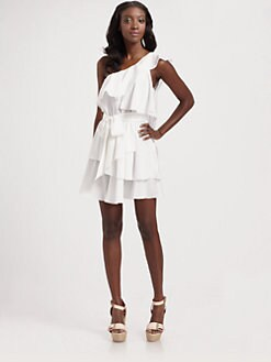 Jay Godfrey - One-Shoulder Tiered Silk Mini Dress