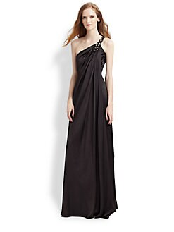 Notte by Marchesa - Beaded One Shoulder Draped Gown