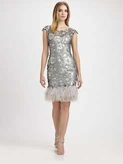 Notte by Marchesa - Feather-Trimmed Silk Dress