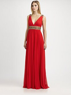 Notte by Marchesa - Beaded Silk Chiffon Gown
