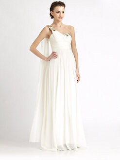 Notte by Marchesa - Asymmetrical Silk Chiffon Gown