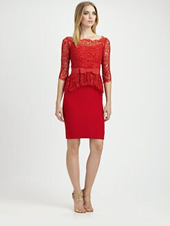 Notte by Marchesa - Lace-Trimmed Silk Dress