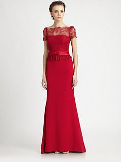 Notte by Marchesa - Lace-Trimmed Silk Gown