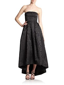 ML Monique Lhuillier - Jacquard Strapless Hi-Lo Gown