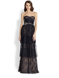 Notte by Marchesa - Strapless Tiered Lace Gown