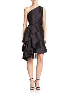 ML Monique Lhuillier - Ruffle One-Shoulder Dress