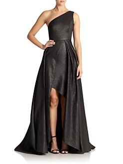 ML Monique Lhuillier - Metallic One-Shoulder Gown