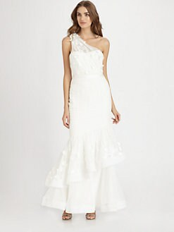 ML Monique Lhuillier - Tiered Trumpet Gown