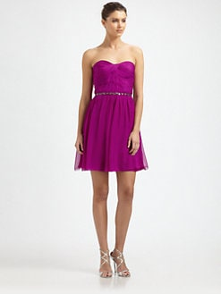 ML Monique Lhuillier - Strapless Silk Chiffon Dress