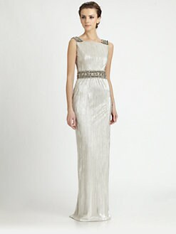 Notte by Marchesa - Metallic Silk Pleated Gown