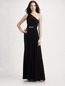 ML Monique Lhuillier - One Shoulder Jersey Gown