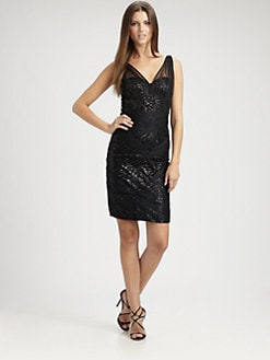 ML Monique Lhuillier - Sequined Tulle Dress