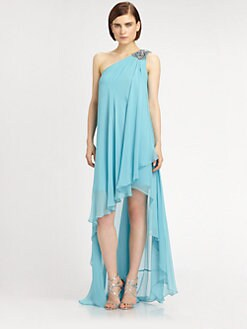 Notte by Marchesa - Asymmetrical Silk Chiffon Dress