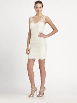 ML Monique Lhuillier - Tiered Lace Bustier Dress
