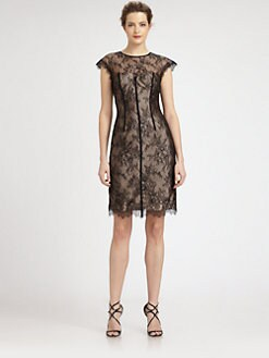 ML Monique Lhuillier - Cap-Sleeve Lace Overlay Dress
