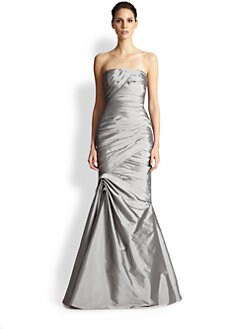 ML Monique Lhuillier - Strapless Pleated Taffeta Gown