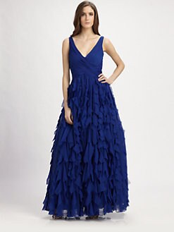 ML Monique Lhuillier - Tiered Chiffon Gown