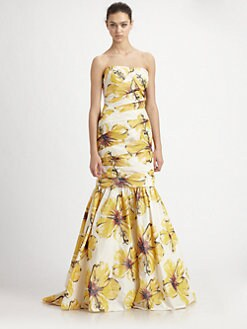 ML Monique Lhuillier - Strapless Floral Gown