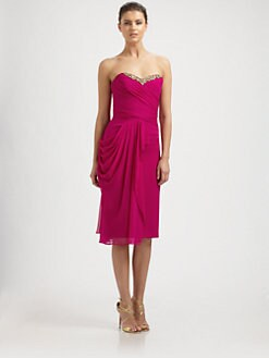 Notte by Marchesa - Silk Chiffon Strapless Draped Dress