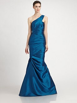 ML Monique Lhuillier - One-Shoulder Taffeta Gown