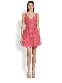 ML Monique Lhuillier - Cloque V-Neck Dress