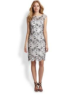 ML Monique Lhuillier - Embroidered Lace Dress