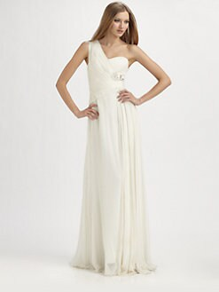 Notte by Marchesa - Asymmetrical Silk Gown