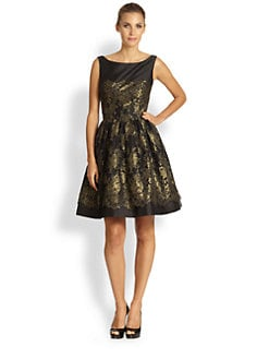 ML Monique Lhuillier - Metallic Lace Dress