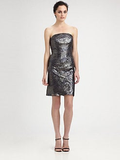 ML Monique Lhuillier - Sequined Strapless Dress