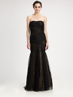ML Monique Lhuillier - Strapless Mesh-Covered Lace Gown