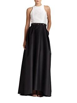 ML Monique Lhuillier - Faille Cross-Back Gown