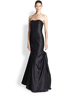 ML Monique Lhuillier - Strapless Faille Gown