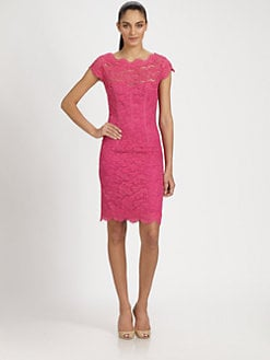 ML Monique Lhuillier - Diamond-Back Lace Dress