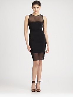 Jay Godfrey - Dorchester Sheer-Paneled Stretch Jersey Dress