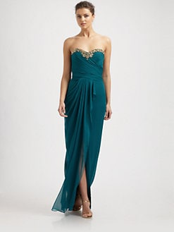 Notte by Marchesa - Silk Beaded-Neck Draped Gown