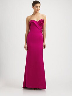 Notte by Marchesa - Silk Satin Rosette Gown