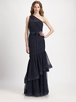 ML Monique Lhuillier - One-Shoulder Gathered Gown