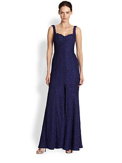 ML Monique Lhuillier - Metallic Lace Gown