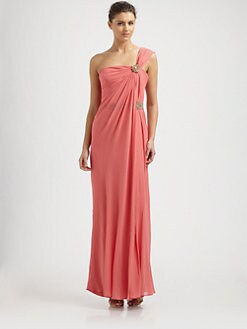 Notte by Marchesa - Silk Chiffon Draped One-Shoulder Gown