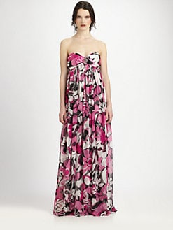 Marc Bouwer Glamit! - Strapless Silk Floral Gown