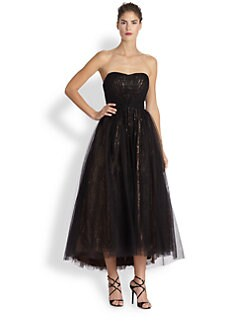 ML Monique Lhuillier - Strapless Tulle Ballerina Gown