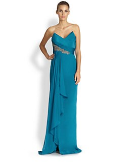 Notte by Marchesa - Strapless Silk Crepe Gown