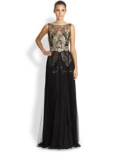 Notte by Marchesa - Pleated Lace & Tulle Gown