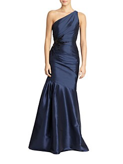 ML Monique Lhuillier - Faille One-Shoulder Mermaid Gown