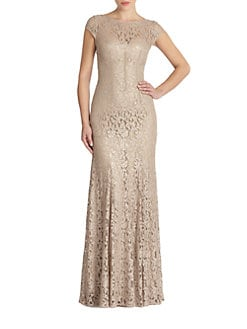 ML Monique Lhuillier - Cap-Sleeve Lace Gown
