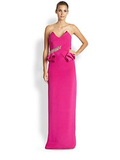 Notte by Marchesa - Strapless Silk Column Gown